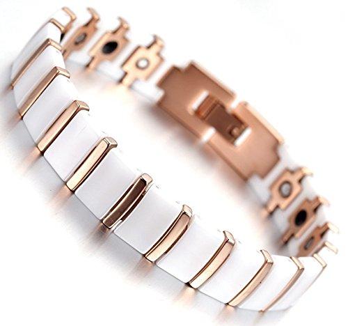 Bracelet-magntique-cramique-Athena-blanc-et-or-avec-aimants-241-cm-0