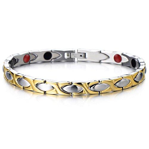 COOLSTEELANDBEYOND-Elegant-Bracelet-Femme-Aimante-en-Acier-Inoxydable-avec-des-Aimants-Germanium-Outil-de-Suppression-de-Lien-Inclus-0