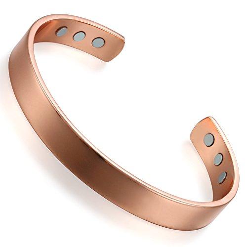 Flongo-Bracelet-Jonc-en-Cuivre-pour-Femme-Manchette-Ouvert-Pierre-Magntique-Polissage-Rose-Or-Bijoux-Cadeau-de-Fte-des-Mres-0