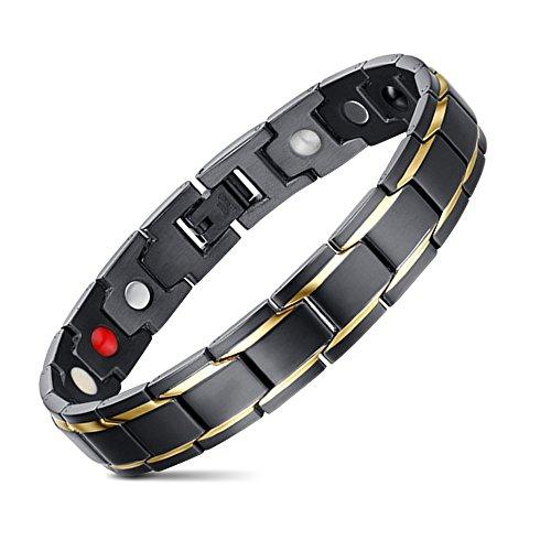 JFUME-Bracelet-Ajustable-en-Acier-Inoxydable-Couleur-Or-Noir-215cm-0