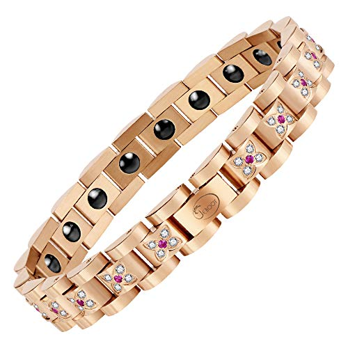 Jeroot-Bracelet-Magnetique-FemmeBracelet-Magnetique-Femme-Bracelets-Magntiques-Hmatite-Magnetique-Bracelet-FemmeLien-libre-Outil-de-SuppressionRose-Gold-0