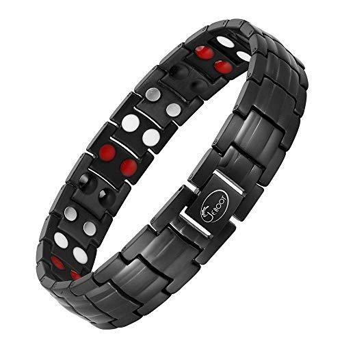 Jeroot-Bracelet-MagnetiqueBracelets-Magntiques-Titane-Magnetique-Bracelet-Homme-Lien-libre-Suppression-Black-0
