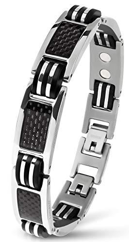 Lunavit-Bracelet-Bijoux-magntique-en-Titane-avec-Carbone-pour-Les-Hommes-Bracelet-Sport-Argent-Longueur-rglable-0