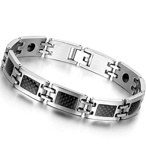 OIDEA-Nouveaute-Bracelet-Aimante-Homme-Acier-Inoxydable-Incrustations-de-Fibre-Carbone-Noire-avec-Sac-Cadeau-0